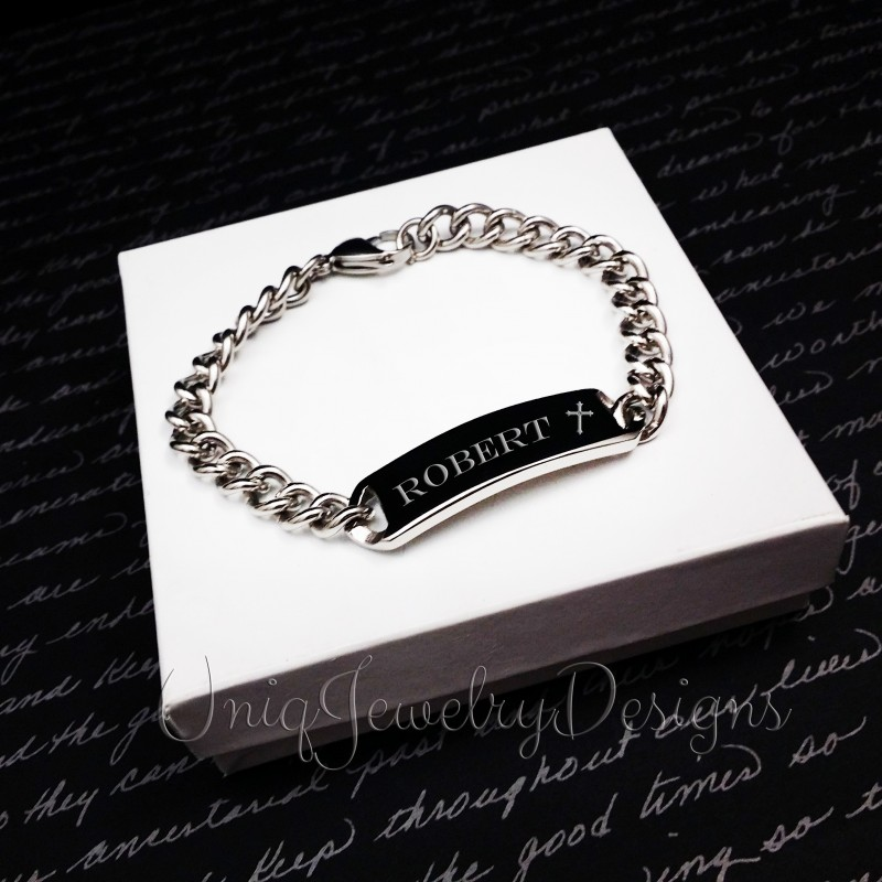 Personalized Mens Cross Name Bracelet