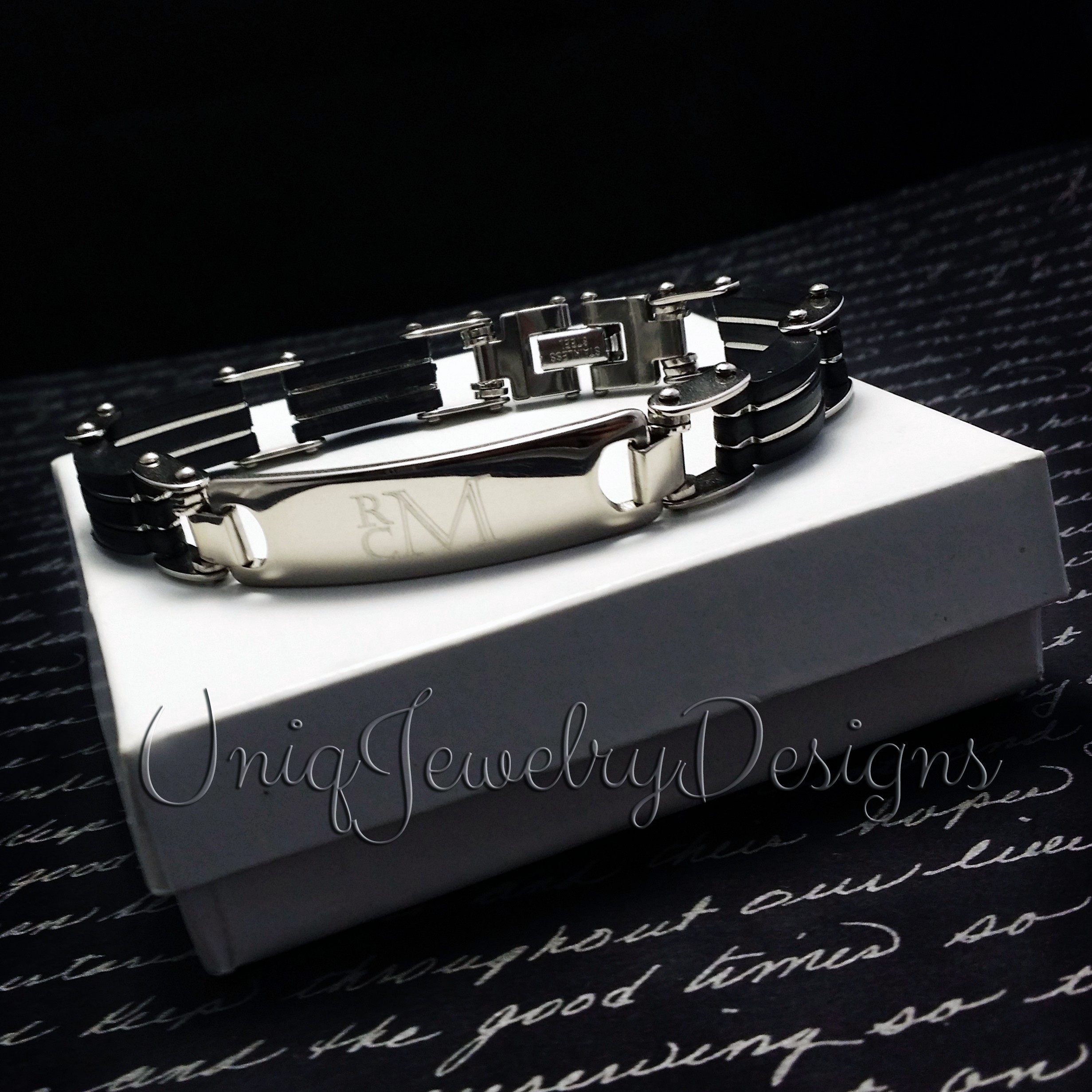 engravable s black band bracelet men wide id information eve addiction mens