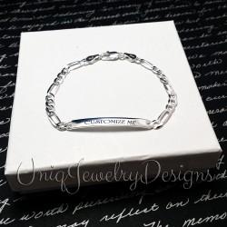 925 Sterling Silver Diamond Cut Figaro ID Bracelet