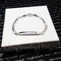 925 Sterling Silver Diamond Cut Figaro ID Bracelet