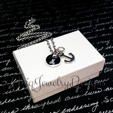 Personalized Initial Anchor Necklace