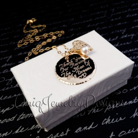 14k Gold Filled Thank You For Raising The Man Of My Dreams Necklace