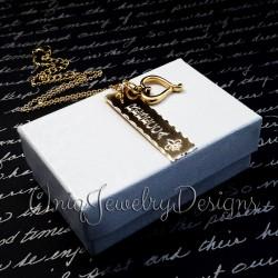 Personalized Fleur De Lis Name Bar Necklace