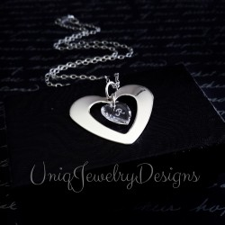 Sterling Silver Swarovski Crystal Heart Initial Necklace
