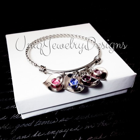 Birthstone Adjustable Bangle Bracelet