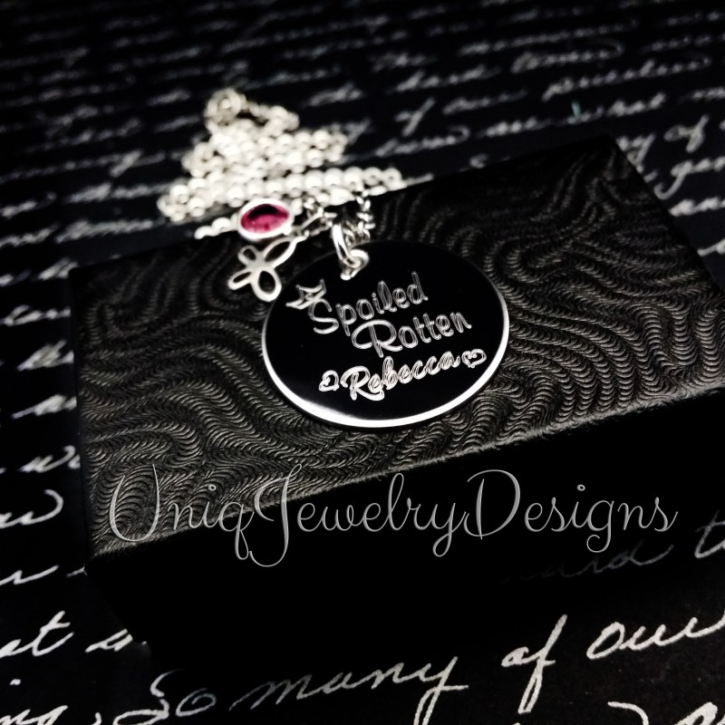 spoiled rotten engraved necklace uniqjewelrydesigns