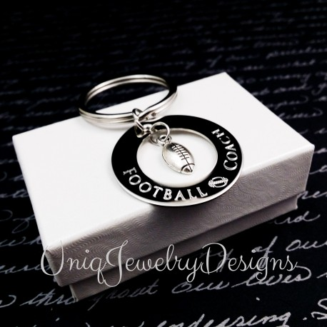 Engraved Football Coach Keyring