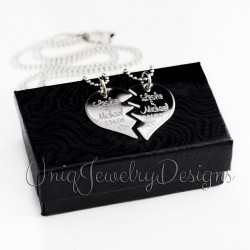 Couples Split Heart Necklace Set