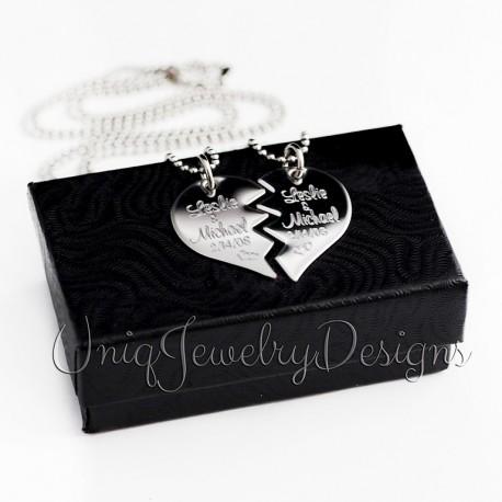 Couples Split Heart Necklace Set