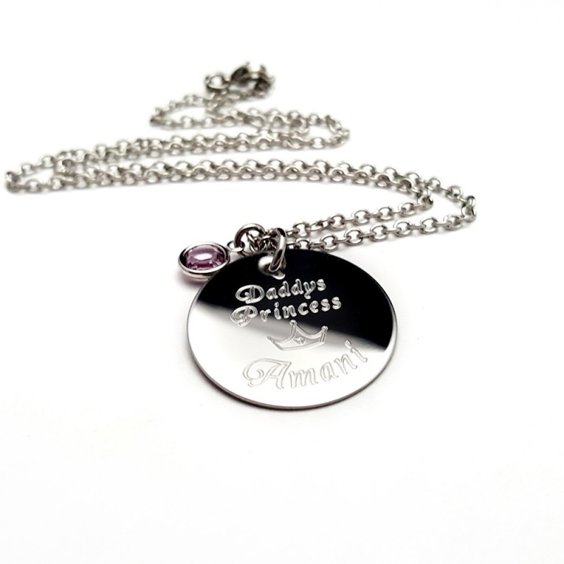 Daddys Princess Engraved Necklace Uniqjewelrydesigns