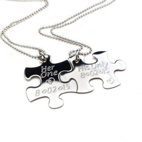 Engraved Puzzle Piece Necklace Set