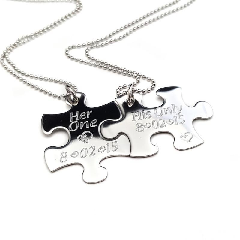 Her One His Only Puzzle Piece Necklace Set