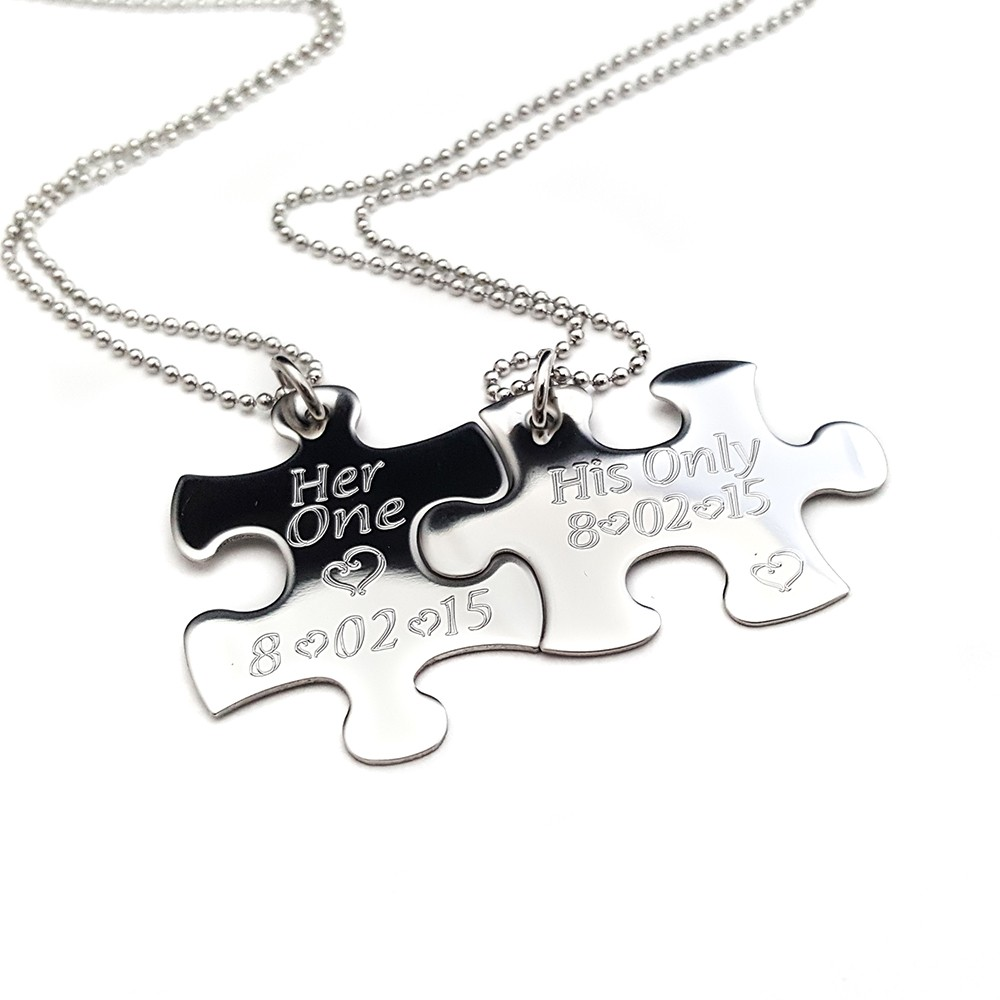 necklace stainless jigsaw hers piece personalised puzzle steel his