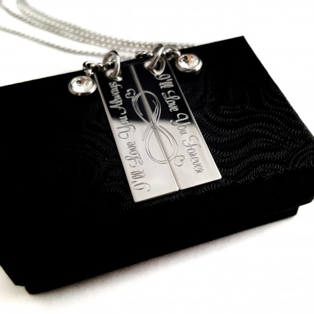 Couples Infinity Symbol Forever and Always Necklace Set