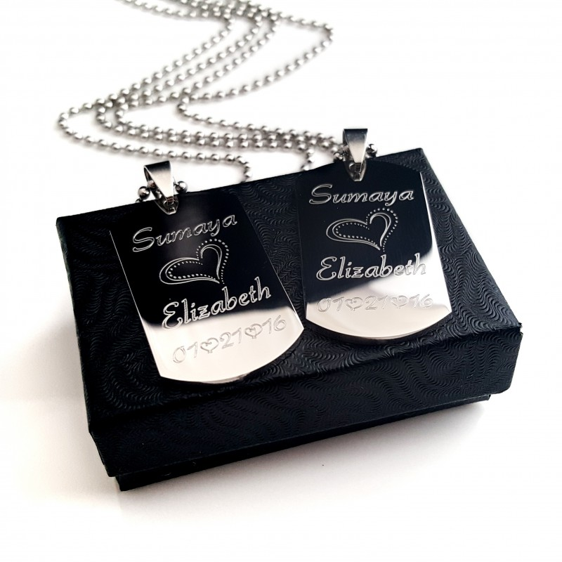 Personalized Couples Dog Tag Set Uniqjewelrydesigns
