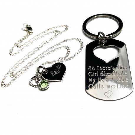 Father Daughter Key chain Necklace Set