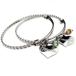 Mother Daughter Adjustable Bangle Bracelet