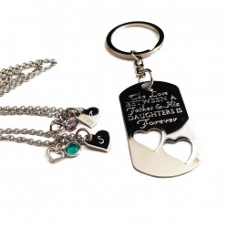 The Love Between A Father and His Daughters Necklace Key Chain Set