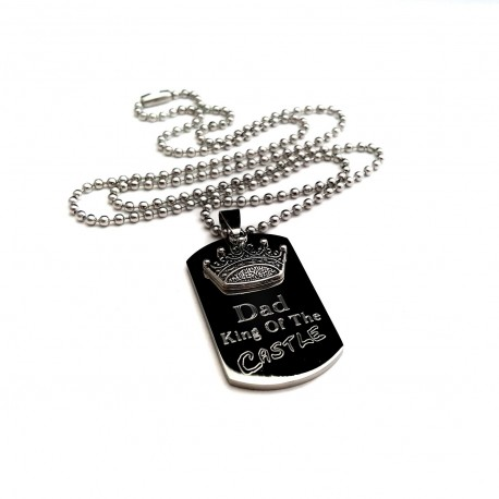 Dad King Of The Castle Dog Tag Necklace