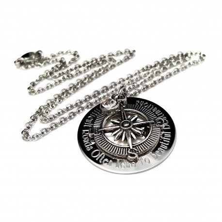 Difficult Roads Inspirational Compass Necklace