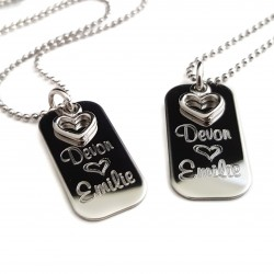 Personalized Couples Mini Dog Tag Set