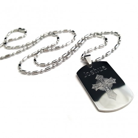 Personalized Cross Dog Tag Necklace