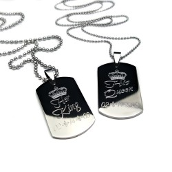Her King, His Queen Medium Dog Tag Set