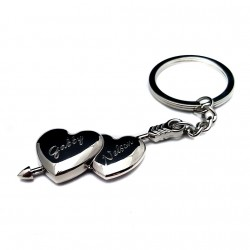 Personalized Double Heart Keychain