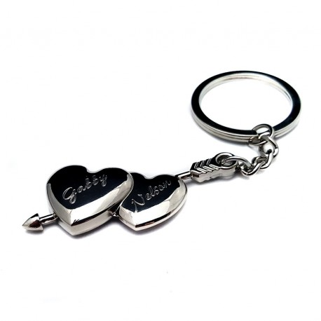Personalized Double Heart Key-chain