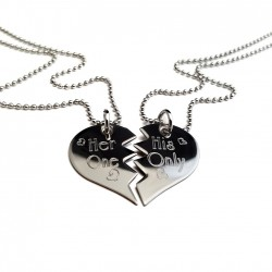 Her One, His Only Couples Split Heart Necklace
