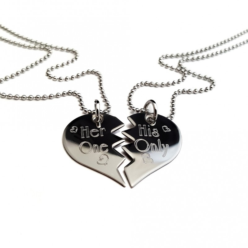 personalized split heart his and hers