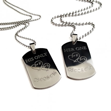 Personalized His and Hers Dog Tag Set