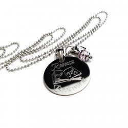 925 Sterling Silver Personalized Bookworm Necklace