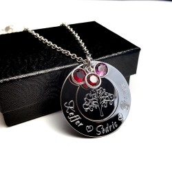 925 Sterling Silver Tree Of Life Engraved Tier Necklace