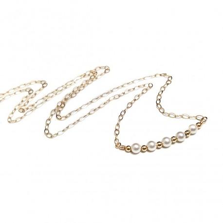 14k Gold Filled Swarovski Pearl Bar Necklace