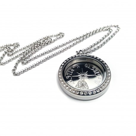 Silver Compass Coordinate Floating Locket