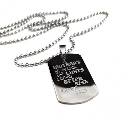 A Mother's Hug Dog Tag Neckace