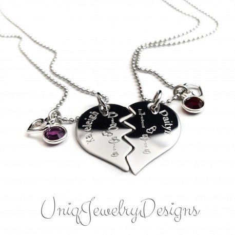 Split Heart Sister Necklace Set