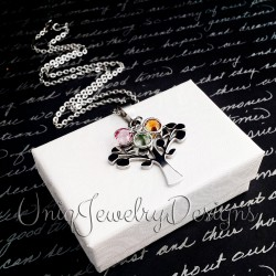 Tree of Life Charm Birthstone Necklace