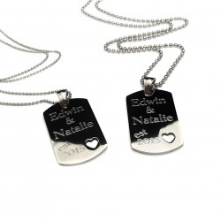 His and Hers Heart Cut Out Dog Tag Set