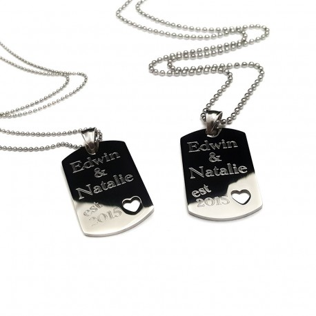 His and Her's dog tag heart cut out set