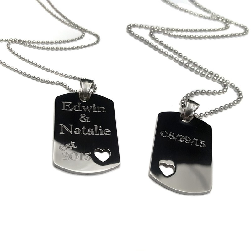His and Hers dog tag heart cut out set - UniqJewelryDesigns