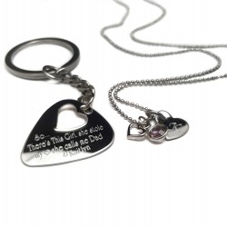 Father Daughter Guitar Pick Key chain Necklace Set