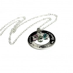 Sterling Silver Birthstone Washer Necklace