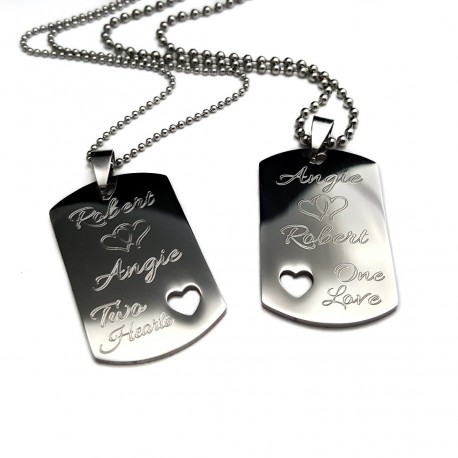 Two Hearts One Love Medium Dog Tag Set