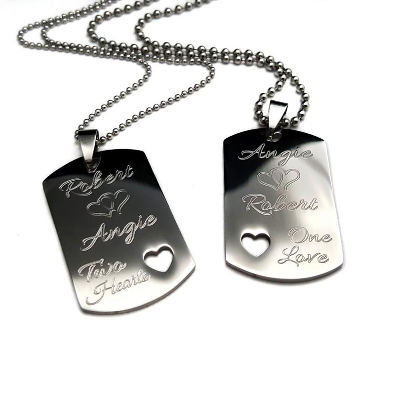 Two Hearts One Love Medium Dog Tag Set Uniqjewelrydesigns