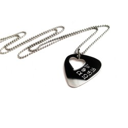 Personalized Guitar Pick With Heart Necklace