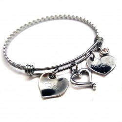 Two Hearts Bangle Bracelet