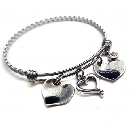Two Hearts Bangle Bracelet