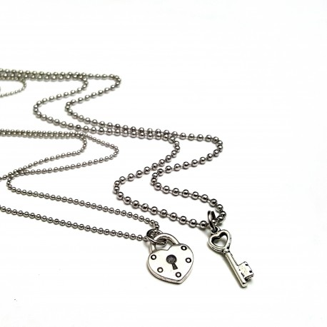 Lock and Key His and Hers Necklace Set